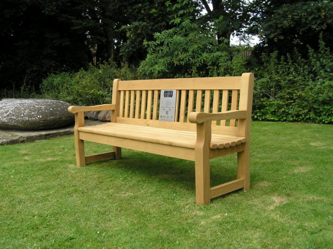 Photograph of bench installed at Museum, Saffron Walden | Essex Record Office