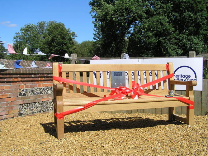 Photograph of listening bench in Banbury Square, Great Waltham | Essex Sound and Video Archive
