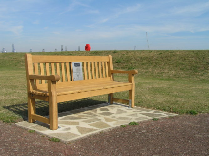 Photograph of listening bench installed on St Helen's Green, Harwich