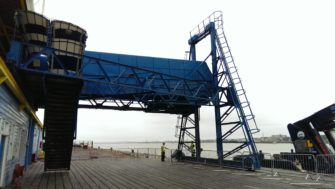 Moveable stairway at the Tilbury Terminal jetty | Stuart Bowditch