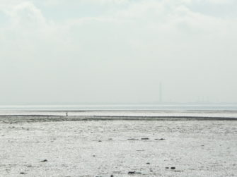 Grain chimney viewed from Canvey Leigh Beck, minutes before its demolition | Stuart Bowditch