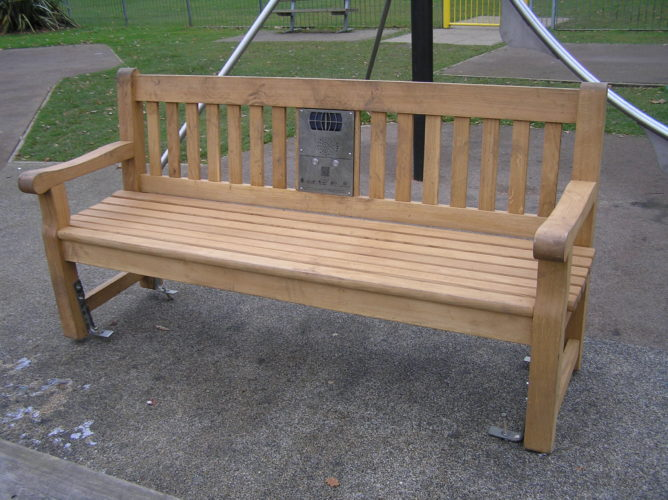 Photograph of listening bench in Maldon Road Park, Witham
