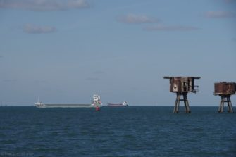 Red Sand fort; the wind farm in the background is probably Gunfleet, off of Clacton