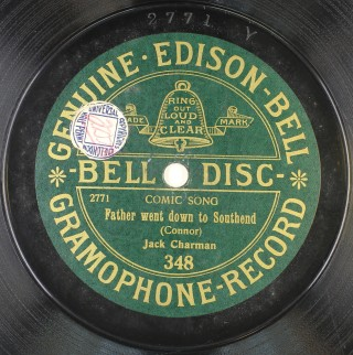Close-up of label on original Edison gramophone record | Essex Record Office