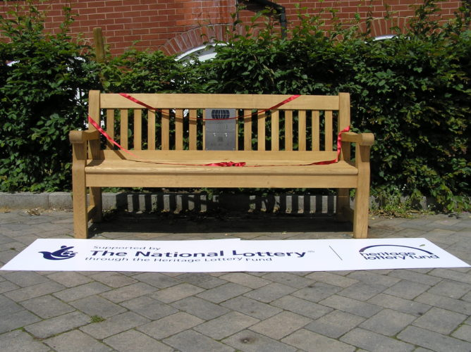 Photograph of listening bench in Great Dunmow | Essex Record Office