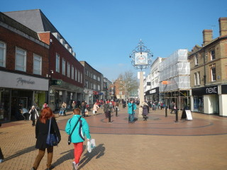 Photograph of Chelmsford High Street, looking north west from near the junction with Springfield Road   Paul Franks