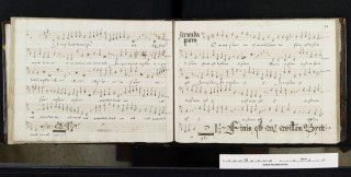 Image of part book from Ingatestone Hall showing the music for William Byrd's motet   Essex Record Office D/DP Z6/1