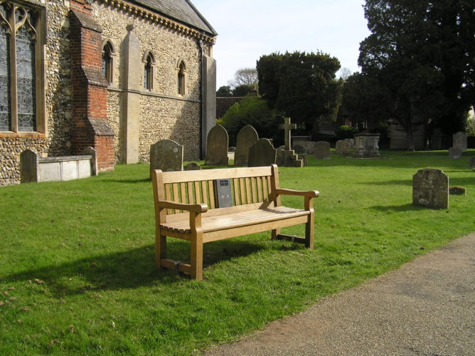 Photograph of bench installed in churchyard