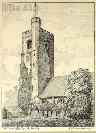 Pen and ink drawing of outside of church building | AB Bamford