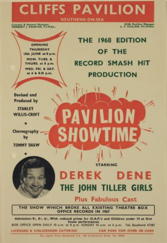 Scanned advertisement for the Pavilion Showtime shwo featuring picture of Derek Dene | Southend-on-Sea Borough Council, D/BC 1/11/4/27
