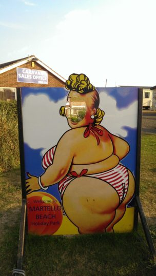 Fat lady cut out amusement at Martello Beach Holiday Park | Stuart Bowditch