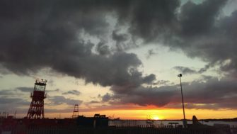 Silhouette of a light ship in the the sunset from Harwich Quay   Stuart Bowditch