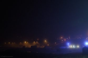 Night-time picture of fog in Southend | The Dim Locator
