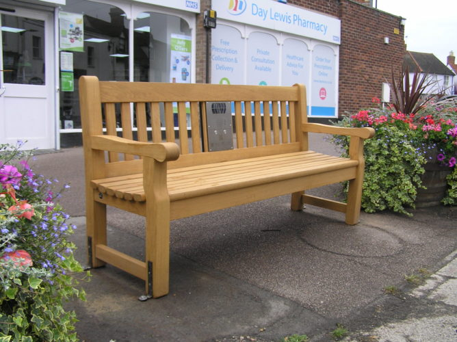 Photograph of listening bench installed on Doubleday Corner, Coggeshall