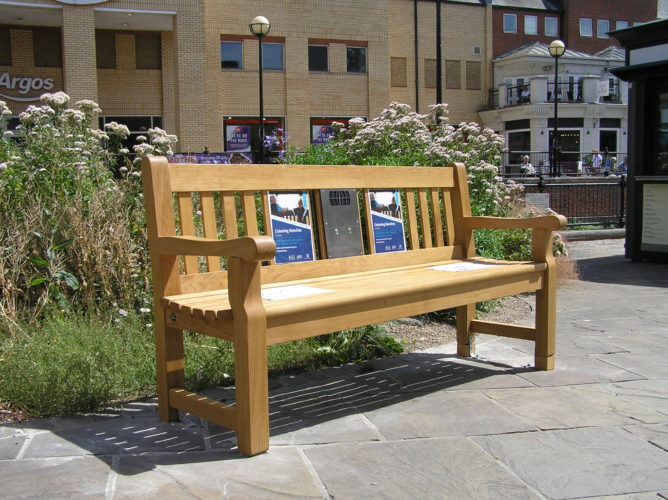 Photograph of Chelmsford listening bench installed in Backnang Square