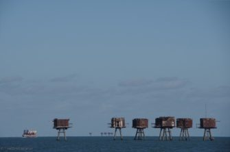Distant view of forts off Clacton