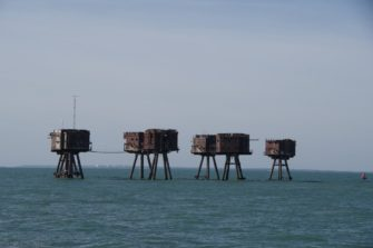 Red Sand Forts, Southend background and relatively high ground of Essex