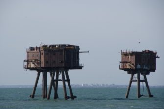 Red Sand Fort, Southend background, shipping passes the other side of the forts and the bell is meant for them