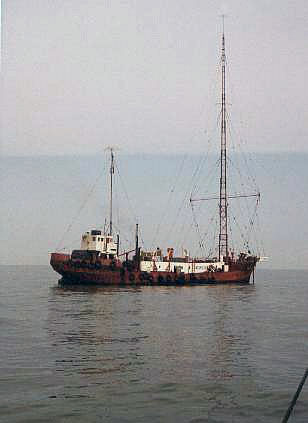 Picture of the Mi Amigo ship in water from 1974